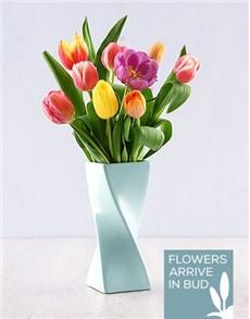 flowers: Tulips in a Blue Twisty Vase!