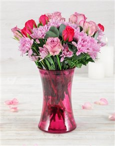 gifts: Roses and Sprays in Lady Pink Vase!