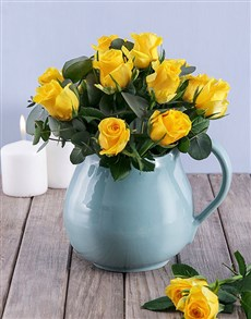 gifts: Yellow Roses in Water Jug!