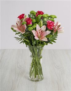 gifts: Beautiful Pink Lilies and Cerise Roses in a Vase !