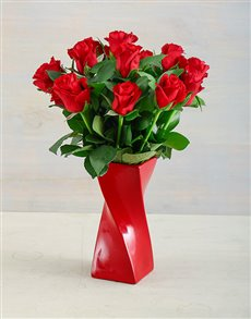 flowers: Red Roses in a Red Twisty Vase!