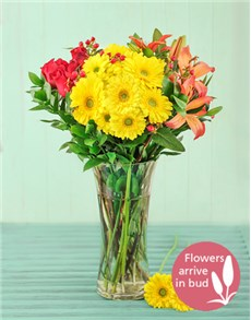 flowers: Roses Lilies and Gerbera Vase!