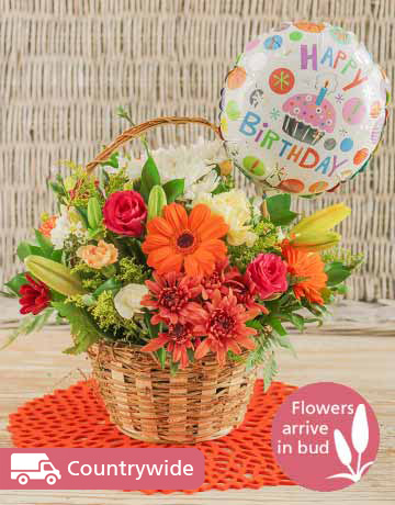 flowers: Basket of Bright Country Flowers with Balloon!