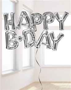 gifts: Silver Happy B-Day Letters Balloon!