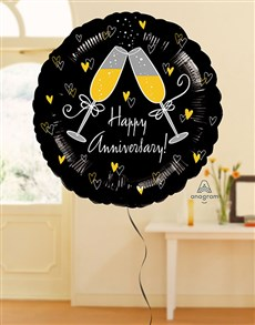 flowers: Happy Anniversary Black and Gold Balloon!