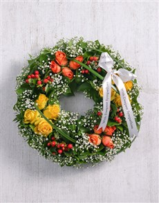 flowers: Orange & Yellow Rose Wreath!