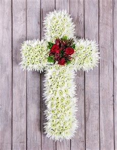 flowers: White and Red Funeral Cross!