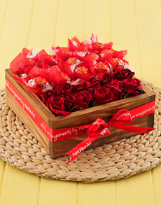 flowers: Red Lindt Rose Edible Box!