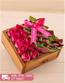 flowers: Rosy Bowed Edible Box!