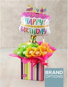 flowers: Happy Birthday Cake Edible Arrangement!