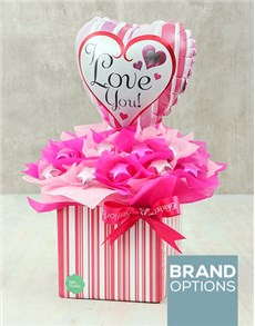 flowers: Pink & Silver Love Edible Arrangement!