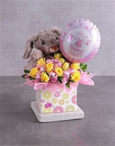 flowers: Rabbit Choc Stars and Baby Girl Balloon Box!