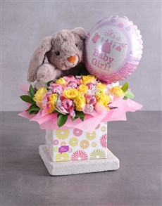 flowers: Rabbit Lindt and Baby Girl Balloon Box!