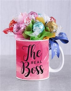 flowers: Real Boss Lindt Mug Arrangement!