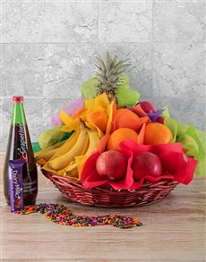 flowers: Seasonal Fruit and Sparkling Juice Gift Basket!