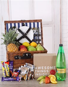 gifts: Fruit, Choc, and Appletiser Picnic Basket!