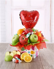 gifts: Fruit and Lindt I love You Box!