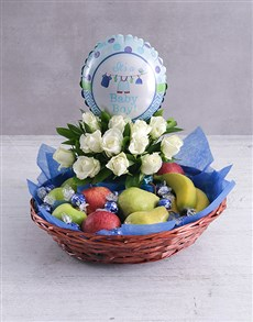 flowers: Baby Boy Fruit Fantasy Basket!