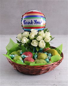 flowers: Thank You Rose and Fruit Basket!
