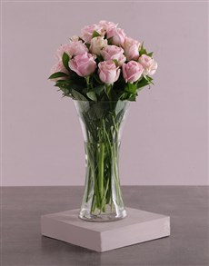 flowers: Pink Roses in a Glass Vase!