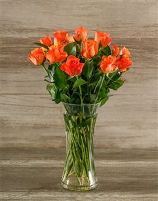 flowers: Orange Roses in a Glass Vase!