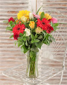 flowers: Gerbera and Rose Vase!