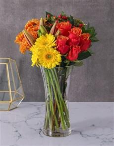 flowers: Roses Lilies and Gerbera Vase!
