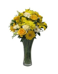 flowers: Yellow and White Floral Vase!