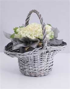 flowers: White Kale Plant in Willow Basket!
