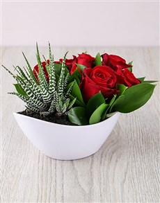 flowers: Red Rose and Succulent Boat!