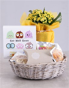flowers: Get Well Kalanchoe and Snacks Basket!