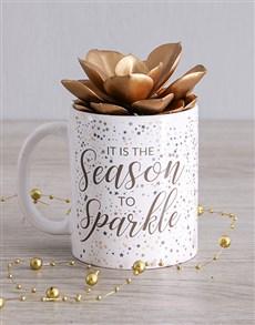 flowers: Golden Succulent Mug!