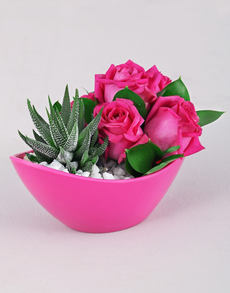 flowers: Cerise Rose and Succulent Delight!