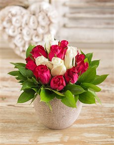 flowers: Pink and White Rose Arrangement!