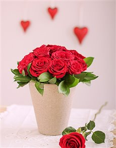 flowers: Red Roses in Pottery Vase!