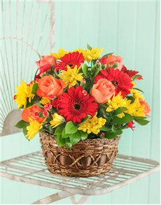 flowers: Seasonal Flowers in a Country Basket!