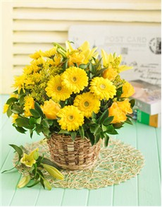 flowers: Basket of Yellow Lilies Roses and Chrysanths!