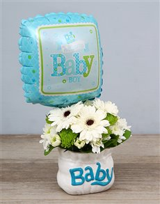 flowers: Baby Boy Ceramic Baby Bag & Balloon!