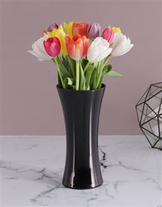 flowers: 15 Tulips in a Black Flair Vase!