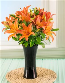 flowers: Orange Lilies in a Tall Black Vase!