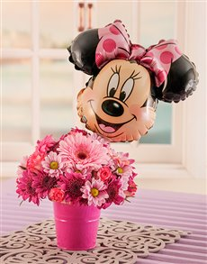 flowers: Mixed Pink Daisy Bucket with Minnie Mouse Balloon!