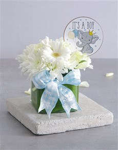 flowers: Baby Boy Square Floral Vase!