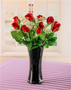 flowers: Red Roses and Gyp in Black Vase!
