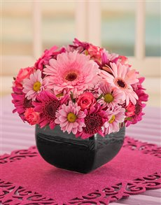 flowers: Mixed Pink Daisies in a Black Vase!