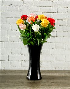 flowers: Mixed Roses in a Black Vase!