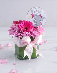 flowers: Baby Girl Square Floral Vase!