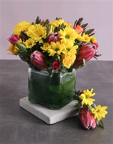 flowers: Protea, Roses and Mixed Yellow Blooms in a Vase!