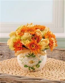 flowers: Orange and Cream Arrangement!