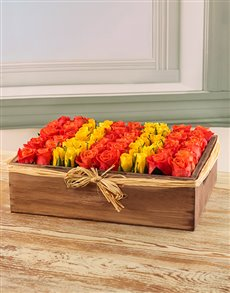 flowers: Orange and Yellow Fresh Cut Roses in a Wooden Box!