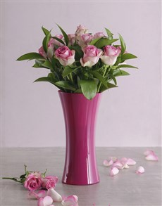 flowers: Pink Roses in a Pink Vase                !